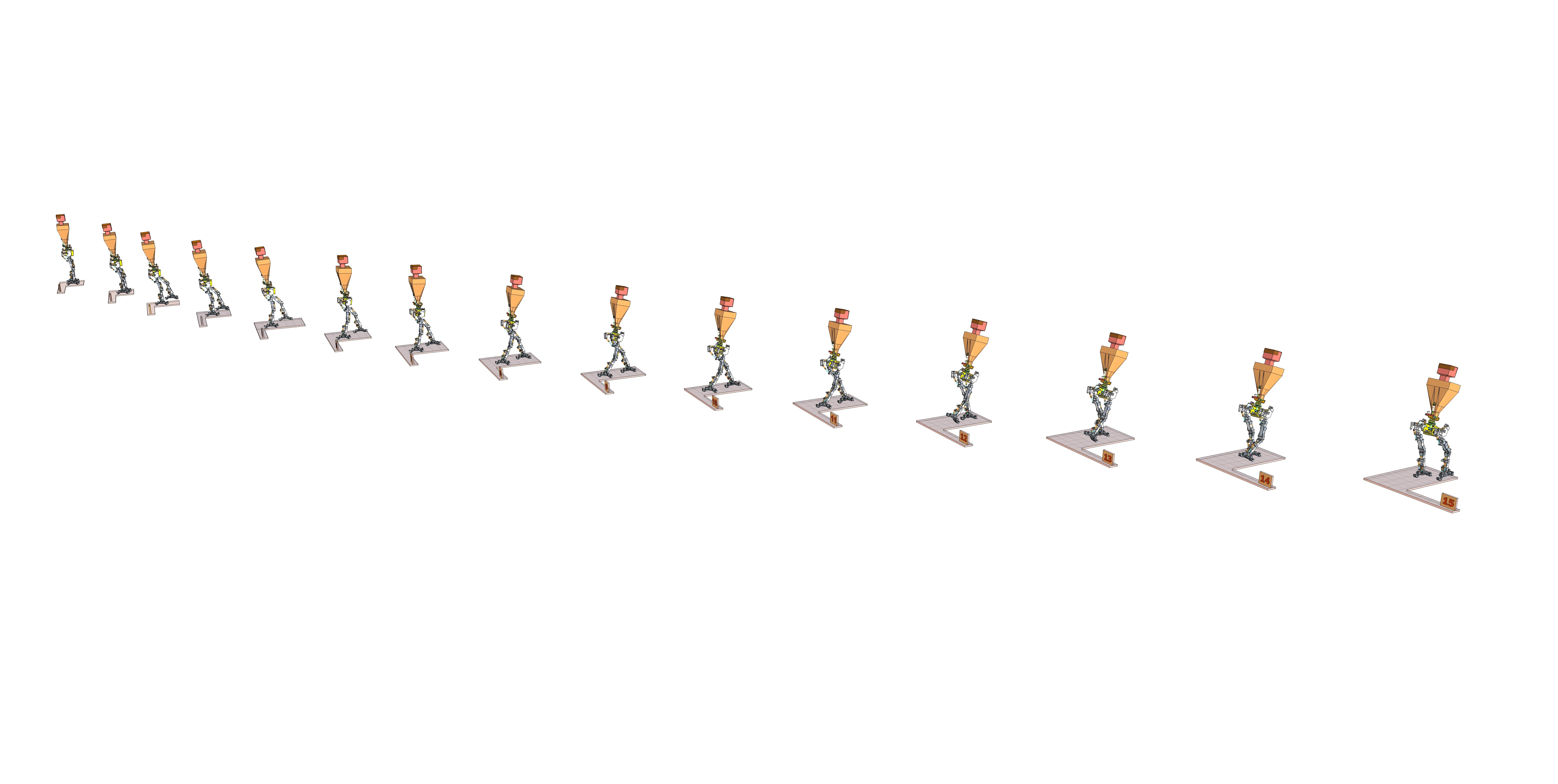 Little Robot Walking Sequence Stances 1-15